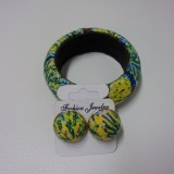 African Print Bangle and Button Earrings Set - Blue Pop