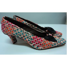 African Print Black Bow Felicia Shoe - Checkered