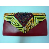 African Print Orangey Zig Zag Roselyn Clutch - (SOLD OUT)