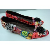 African Print Peach Splash Star Felicia Shoe